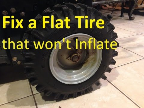 How to Fix a Flat Tire that Won't Inflate - Wheelbarrow, Tractor, Snowblower, ++