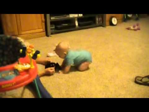 Baby Henry crawling at 5 months old
