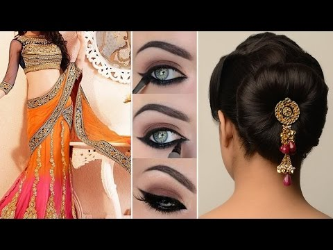 Lehenga Style Saree Draping with Makeup and Hairstyle Step By Step | DIY | Lehenga Bridal Makeup