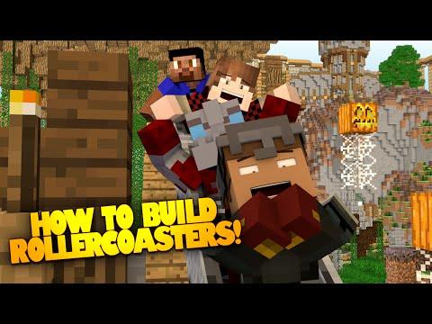 Minecraft ROLLER COASTER Build Challenge! - How to make a Roller coaster in Minecraft!
