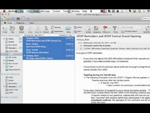 Saving Email to Your Computer with Outlook 2011