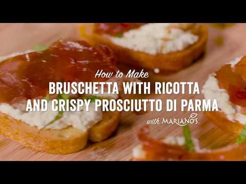 Bruschetta with Ricotta, Cracked Black Pepper, Honey and Crispy Prosciutto di Parma