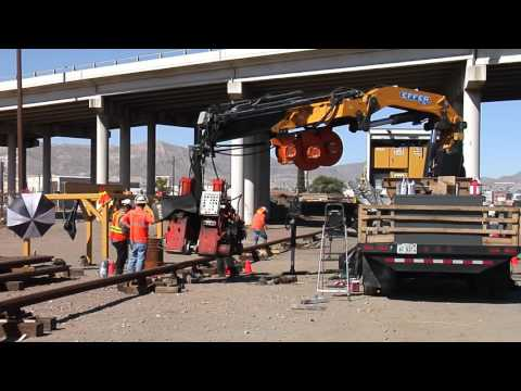 Welding of the first rails for El Paso Streetcar Project