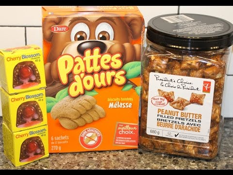 From Canada: Cherry Blossom, Bear Paws Molasses Cookies & President's Choice Peanut Butter Pretzels