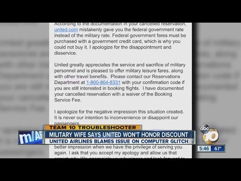 Military wife says United Airlines won't honor military discount