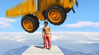 TRY TO DODGE THE FALLING DUMP TRUCKS! (GTA 5 Funny Moments)