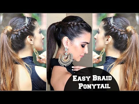 Easy Effortless Braided Ponytail Hairstyle For Medium Hair For College, Party/ Kriti Sanon Inspired