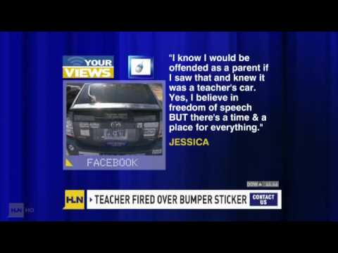 Teacher fired for refusing to remove her bumper sticker
