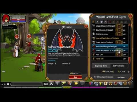 AQWorlds limited time nulgath archfiend rares shop 2013