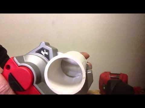 Milwaukee PVC cutter cutting 2 inch PVC