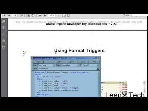 Oracle Reports 10g Tutorial in Bangla: Using Format Trigger