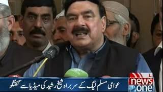 Sheikh Rasheed talks to media in Rawalpindi