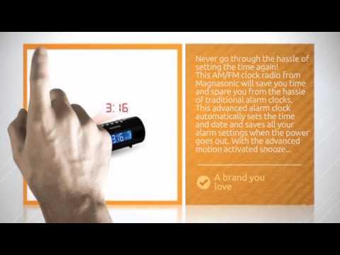 Magnasonic MAG-MM178K AM/FM Projection Clock Radio with Dual Alarm, Auto Time Set/Restore, Motion...