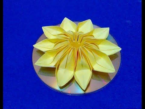 Easy origami flower on CD. DIY 3d flower - room decorating ideas.
