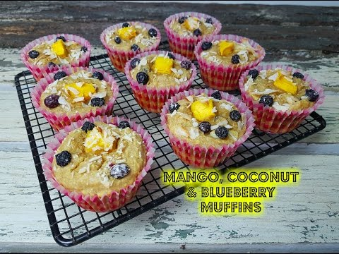 MANGO, COCONUT & BLUEBERRY MUFFINS - CookingwithKarma