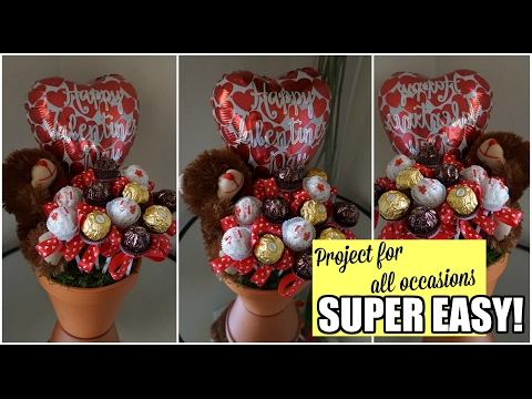 DIY : CHOCOLATE FLOWER CENTERPIECE ( CUSTOMIZE FOR OTHER OCCASIONS )