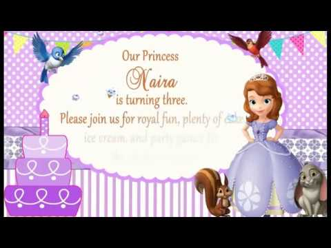Sofia Princess Theme  Whatsapp Baby girl Birthday Invitation  : SOP001