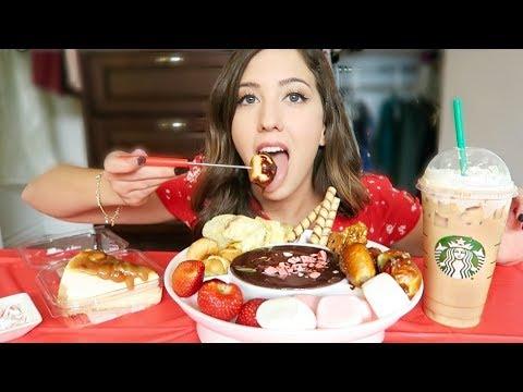 CHOCOLATE PEPPERMINT FONDUE + SALTED CARAMEL CHEESECAKE MUKBANG! (Eating Show)