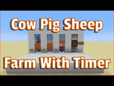 Minecraft Tutorial Cow Pig and Sheep farm 1.12 with breeding timer
