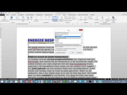 Word1 Spelling  en grammaticacontrole Taal instellen