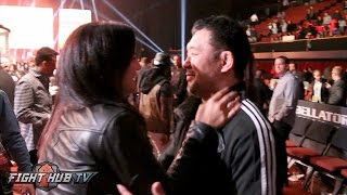 Kazushi Sakuraba meets and hugs Gina Carano