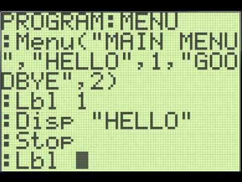 TI-83/84+ Programming - How to use Menus!