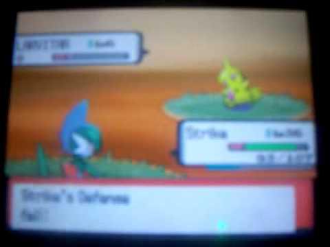 Shiny Larvitar in Pokemon Diamond via Pokeradar