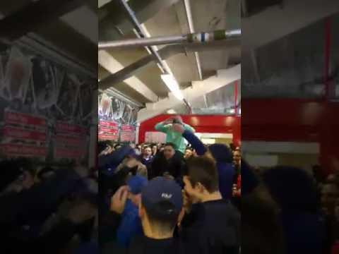 Cardiff City fans bouncing at half time v Bristol City
