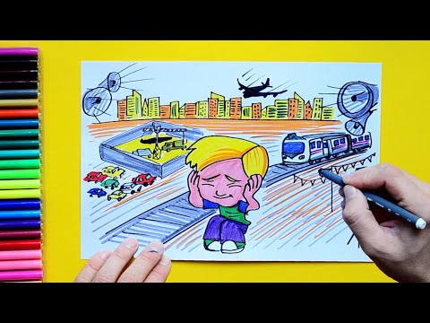 How to draw and color noise or sound pollution