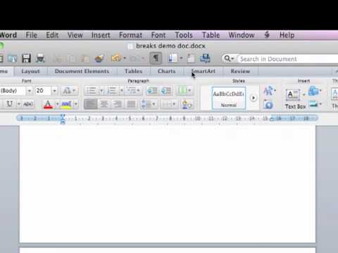 Breaks - Thesis Formatting on Microsoft Word for Mac 2011