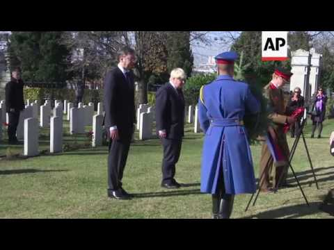 UK FM lays wreath in Serbia for Armistice Day