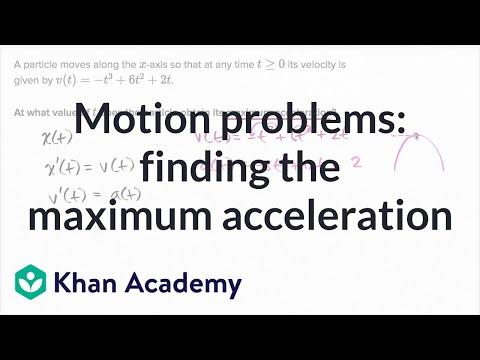 Motion problems: finding the maximum acceleration | AP Calculus AB | Khan Academy