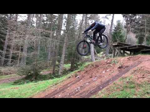 Slow Motion Black Drop Off at Glentress