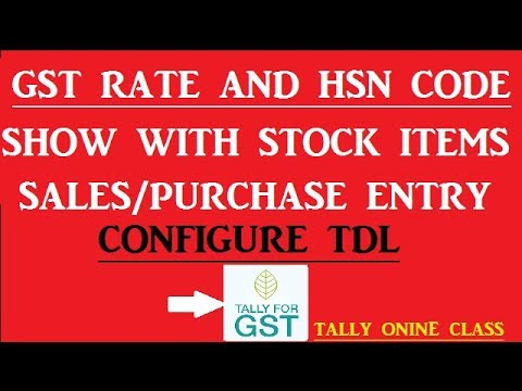 GST RATE AND HSN CODE Show With Stock Items Sales/Purchase Voucher Screen/Configure TDL Tally.ERP9
