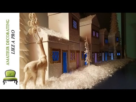 DIY Kid Friendly Dollar Tree Winter Wonderland Village & Holiday Night Light