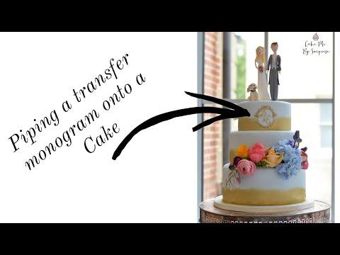 Tutorial Cake Decorating Piping a transfer monogram