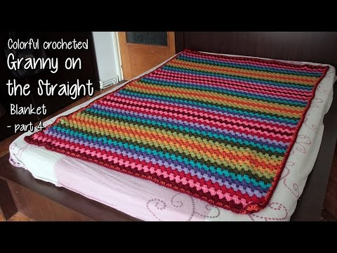 Coolorful Granny on the Straight  Crocheted Blanket: Sewing, edging, finishing off