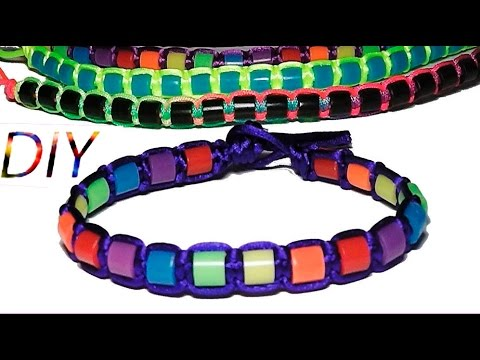 Macrame knots How to make bracelets with Hama o perler beads and string or thread tutorial diy satin
