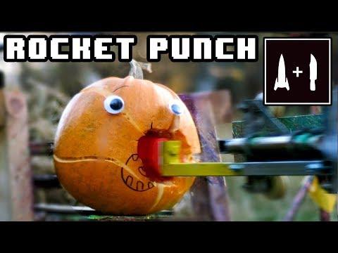 200km/h ROCKET PUNCH -VS- Pumpkin and Jell-O - (3D printed fist)