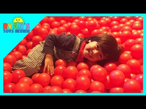 Ryan Goes to Indoor playground with GIANT BALL PIT at Thomas Land