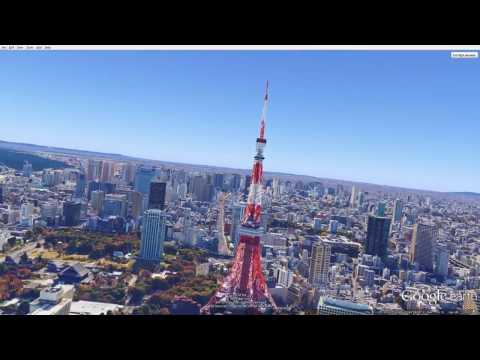 Google Earth Flight simulator Flying around Tokyo Japan.