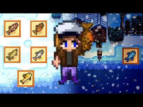WINTER RIVER FISHING Stardew Valley [All day and all night]