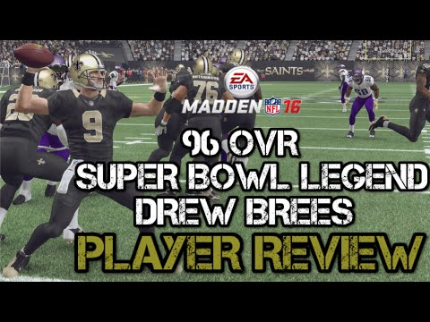 96 OVR Super Bowl Legend Drew Brees | Player Review | Madden 16 Ultimate Team Gameplay | MUT 16