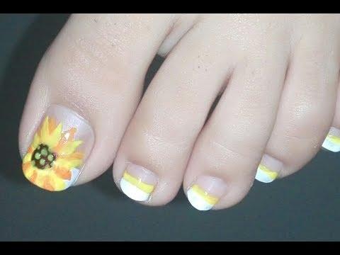 Sunflower French Pedicure Tutorial: DIY Summer Toenail Art Design