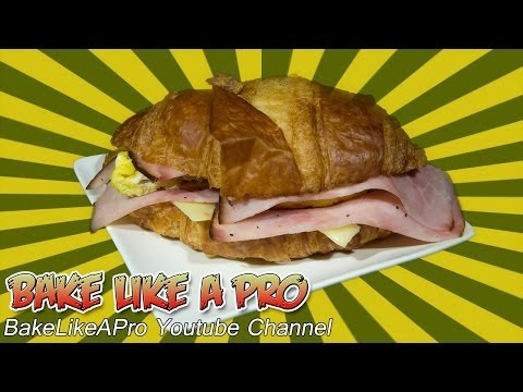Breakfast Croissant Sandwich Recipe - Egg Cheese Ham - Microwave FAST !