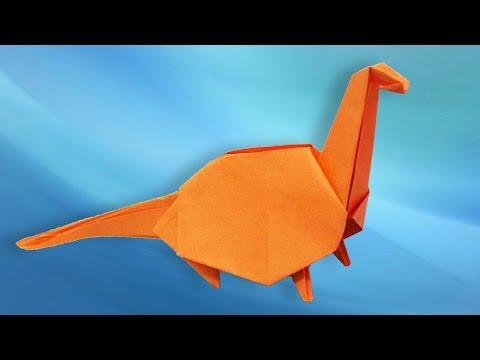 Origami Dinosaur - How to make a paper Dinosaur  (Brontosaurus)