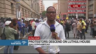 Protestors descend on Luthuli House