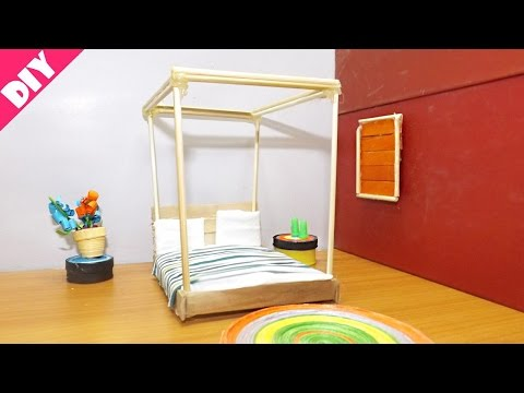 DIY Miniature Dollhouse Bedroom | Popsicle Stick Crafts | Easy & Simple