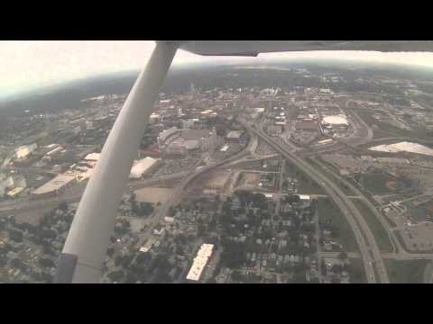 Flying by Downtown Lincoln