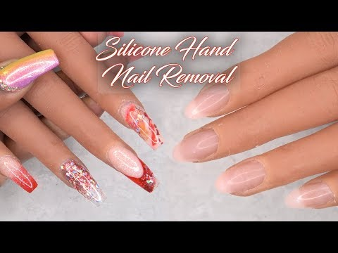 How To Remove Acrylic Nails from Silicone Hand and Apply New Full Cover Nails | LongHairPrettyNails